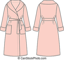 Bathrobe - Vector illustration of women's bathrobe. Front...