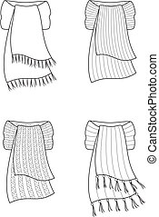Scarf - Vector illustration of winter scarfs. Knitwear