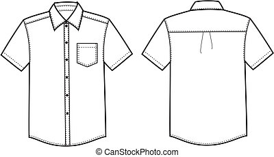 Shirt - Vector illustration of men's business shirt. Front...