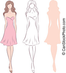 Woman in dress - Vector illustration of female figure in...