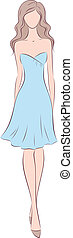 Woman in dress - Vector illustration of a female silhouette...
