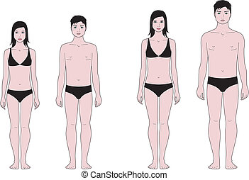 Teenager figure - Vector illustration of male and female...