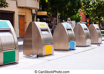 garbage cans for separation of rubbish at city street