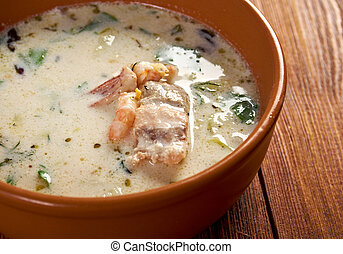 Seafood Chowder - Fish Soup with Salmon, Cream and Potatoes...