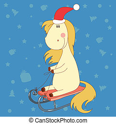 merry christmas horse with yellow mane and tail