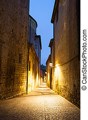 Morning view of old street in Girona