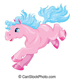 small pink pony with a blue mane and tail