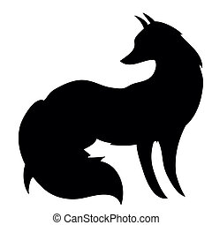 Silhouette of the fox on white background