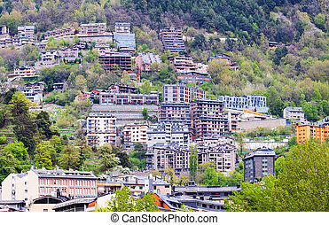 Residence district at mountains. Andorra la Vella -...