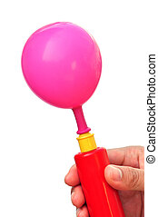 Air pump and balloon on a white background
