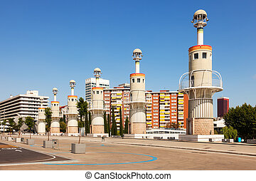 Parc de Espanya Industrial in summer day. Barcelona, Spain