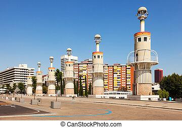 Parc de Espanya Industrial in summer day. Barcelona, Spain