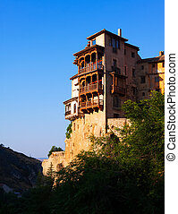 Hanging Houses of Cuenca in sunny morning Spain