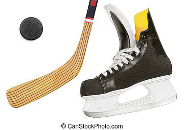 Hockey skates, stick and puck on a white background