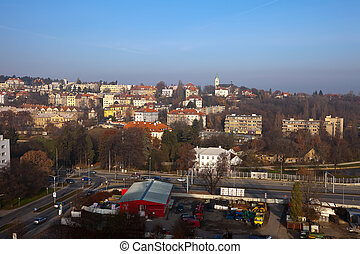 Prague, Czechia - view of historucal residential district in...