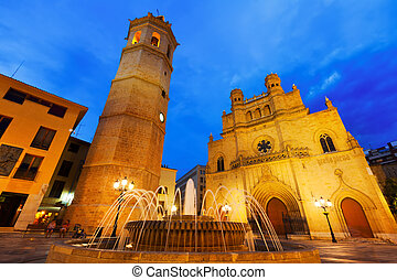 Cathedral at Castellon de la Plana in night. Spain - Fadri...