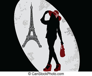Woman silhouette and Eiffel tower,