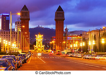Night time. Barcelona, Spain - Venetian towers in night...