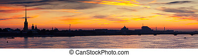 Peter and Paul Fortress in morning - Panorama of St....