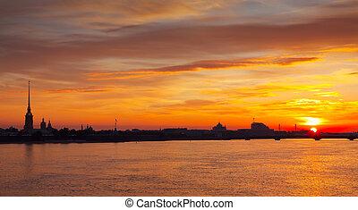 view of Neva river in dawn - view of Neva river in dawn....