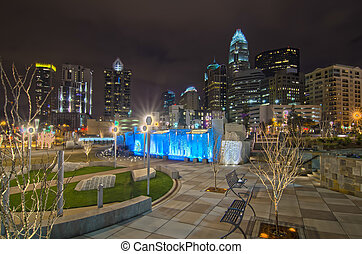 charlotte city skyline - view of charlotte skyline at night...