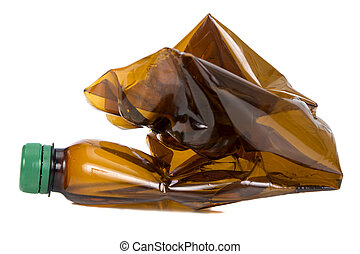 Used plastic bottles - Used brown plastic bottles isolated...