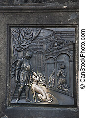 Nobleman with Dog Sculpture on Charles Bridge, Prague; Czech...