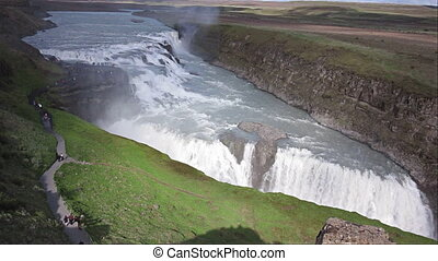 Gullfoss waterfall and tourists in Iceland