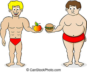 fat and a fit man and their diet - vector illustration of a...