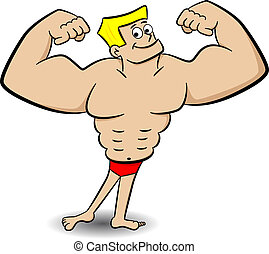 muscle man - vector illustration of a posing muscle man on...