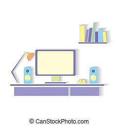 Business workspace - Flat design stylish vector illustration...