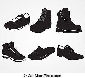 Set of icons of men's shoes on the white background