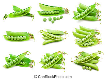 Pea - Collection of fresh green peas isolated on white...