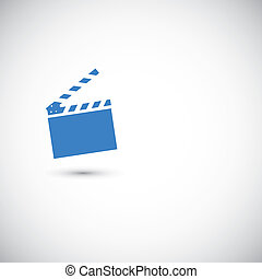 Movie clapper board on the grey background