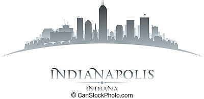 Indianapolis Indiana city skyline silhouette white...