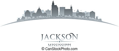 Jackson Mississippi city skyline silhouette white background...