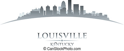 Louisville Kentucky city skyline silhouette white background...