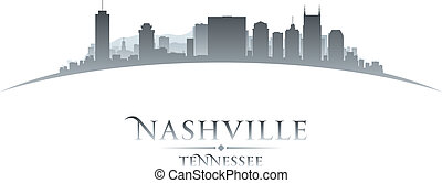 Nashville Tennessee city skyline silhouette white background...