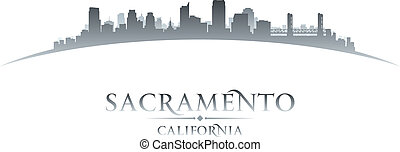 Sacramento California city skyline silhouette white background