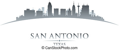 San Antonio Texas city skyline silhouette white background -...