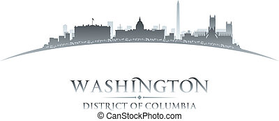 Washington DC city skyline silhouette white background -...