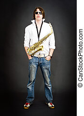 Cool saxophonist - Cool dude posing with a saxophone...