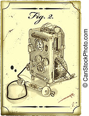 Old drawing of the Phone. - Modern Figure, made in the style...