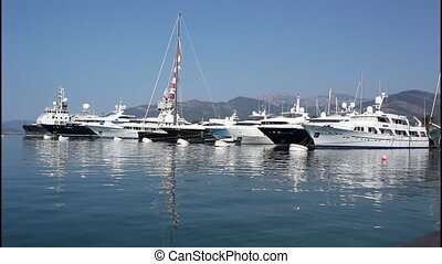 Port, ships and yachts - Port in Montenegro, Tivat, ships...