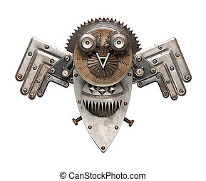 Owl - Stylized metal collage of owl, isolated