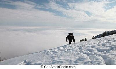 Reaching the snowy mountain peak