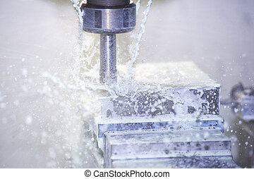 Milling Machine - Splashing Cooling Water On The Tool