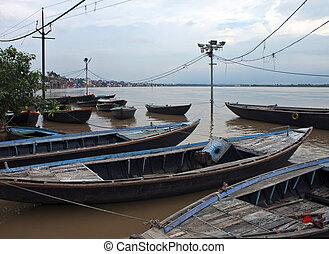 Boats in holy city of Varanasi, India