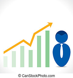 men icon with business graph chart