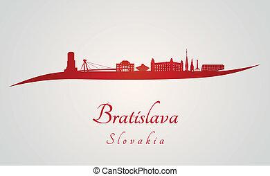 Bratislava skyline in red